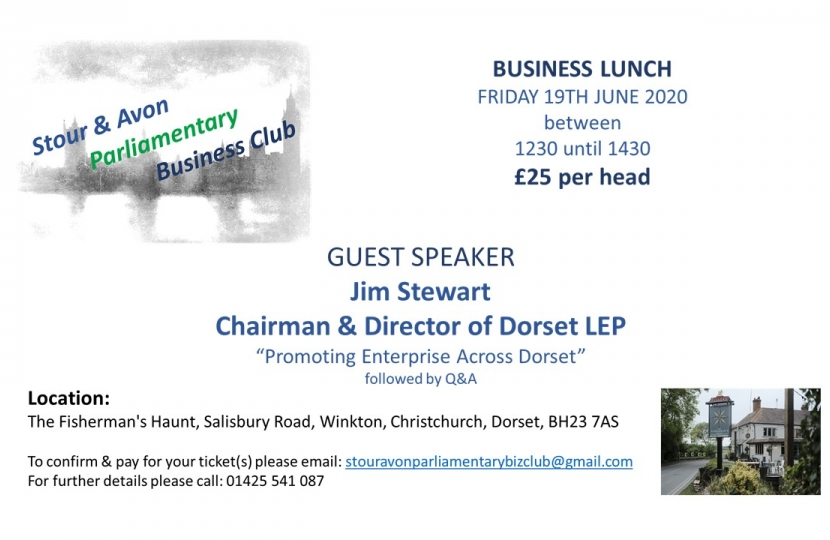 Stour & Avon Parliamentary Business Club Lunch 19th June 2020